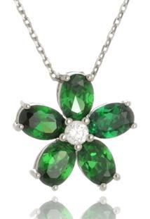 Colar Le Diamond Flor Verde Esmeralda Prata - Kanui