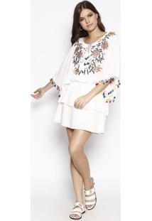 Vestido Com Bordados & Paetês- Branco & Douradosusan Zheng