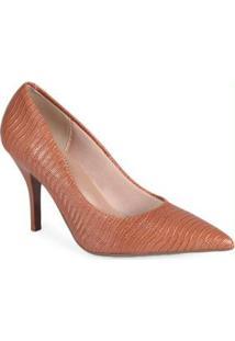 Sapato Scarpin Feminino Conforto Lezard Caramelo Preto
