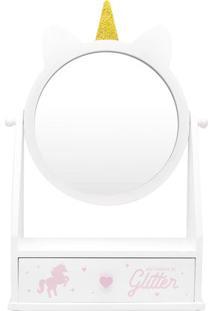 Porta Joias Unicórnio- Espelhado & Branco- 43X26,5X9Ludi