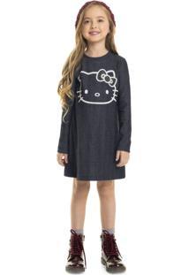 Vestido Infantil Manga Longa Hello Kitty Preto