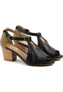 Sandália Salto Em Couro Feminina F1609 Preto Burn 33