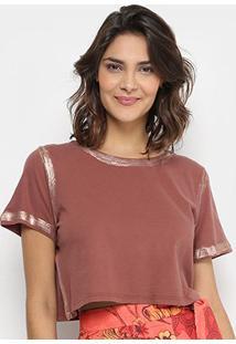 Camiseta Lança Perfume Cropped Estonada Feminina - Feminino-Marrom