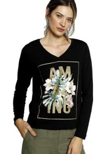 Camiseta Energia Fashion Manga Longa Plus Size Feminina - Feminino-Preto