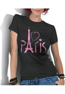 Camiseta Criativa Urbana Love Paris França - Feminino-Preto