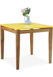 Mesa Para Sala De Jantar Tucupi 80X80X76Cm - Acabamento Stain Nozes E Laca Amarelo
