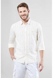 Camisa Regular Reserva Textura Horizontal Verano Masculina - Masculino-Bege