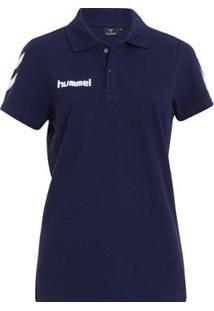 Camiseta Polo Hummel Core Cotton Feminina - Feminino-Marinho