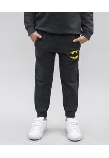 Calça Infantil Batman Em Moletom Com Bolsos Cinza Mescla Escuro