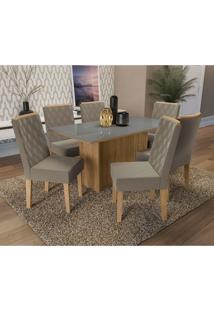 Conjunto De Mesa De Jantar Com Tampo De Vidro E 6 Cadeiras Cidra Suede Cinza