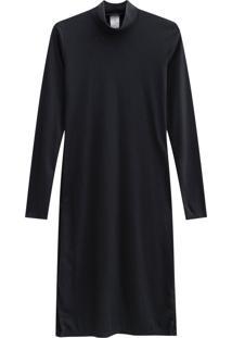 Vestido Lecimar Em Punho Listrado Outono Inverno Manga Longa Preto 2