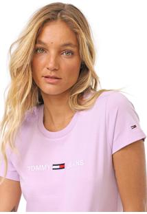 Camiseta Tommy Jeans Clean Linear Logo Lilás