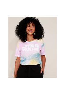 Camiseta Feminina Star Wars Estampada Tie Dye Manga Curta Decote Redondo Multicor