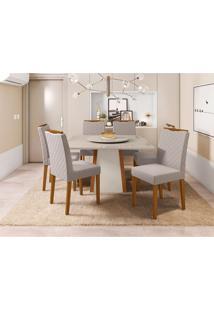Conjunto De Mesa De Jantar Com Tampo Giratório Júlia E 6 Cadeiras Munique Linho Off White