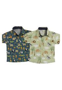 Kit 2 Camisa Curta Estampada Estilosa Mabu Denim Masculina Infantil