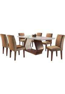 Sala De Jantar Alvorada 1.80M Com 6 Cadeiras Café/Off White Sued Animale Chocolate