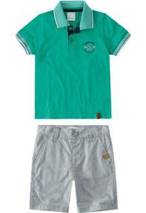 Conjunto Verde Camisa Polo Menino Malwee Kids