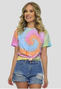 Camiseta Tie Dye Colorido Feminina Sob Manga Curta Espiral - Kanui