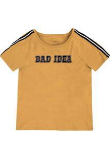 T-Shirt Em Malha De Algodão Com Retilínea Nos Ombros