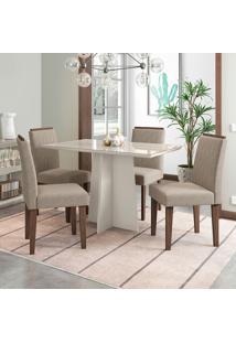 Conjunto De Mesa De Jantar Com Tampo De Vidro E 4 Cadeiras Ana Ii Veludo Linho Off White E Creme