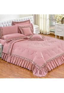 515d1813b2 Quarto Completo Fiore Casal Queen 11 Peças Percal 180 Fios Rosê