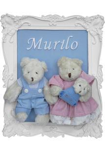 Enfeite Maternidade Família Bebê Urso Ursinho Menino Azul Potinho De Mel