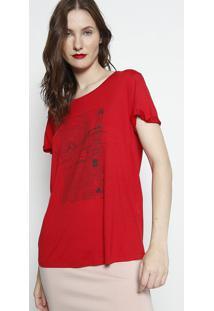 Camiseta Com Inscriã§Ãµes- Vermelha & Preta- Forumforum