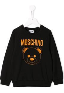 Moschino Kids Blusa De Moletom Com Logo Bordado - Preto