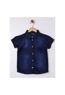 Camisa Jeans Manga Curta Infantil Para Menino - Azul Marinho