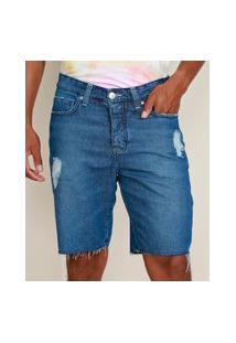 Bermuda Jeans Masculina Ciclos Slim Destroyed Azul Médio
