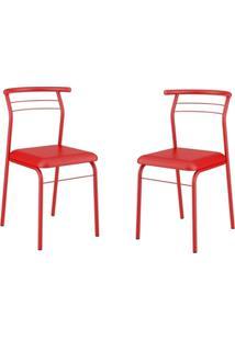 Conjunto 2 Cadeiras Tubo Vermelho Napa Vermelho Carraro