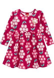 Vestido Manga Longa Floral Kyly Bordô