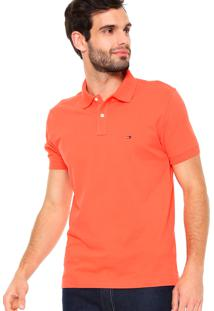 Polo Tommy Hilfiger Masculina Custom Fit Hot Coral