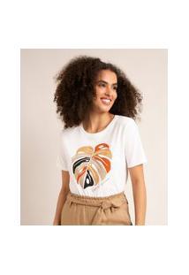 """Camiseta De Algodão Manga Curta Estampa Folhagem """"Tropical Dream"""" Off White"""