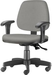 Cadeira Job Com Bracos Curvados Assento Courino Cinza Claro Base Rodizio Metalico Preto - 54626 Sun House