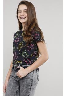 Blusa Juvenil Mickey Estampada Manga Curta Preta