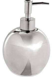 Porta Sabonete Liquido Liso- Prateado- 11Xã˜16,5Cm