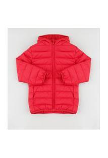 Jaqueta Infantil Puffer Com Capuz E Bolsos Vermelha