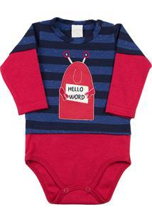 Body Ano Zero Bebê Cotton Listrado E Suedine Hello Word Marinho