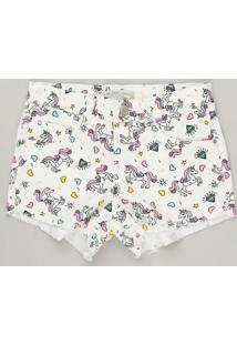 Short Color Infantil Estampado De Unicórnios Barra Desfiada Off White