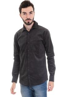 Camisa Veludo Konciny Cotelê 2991 Cinza