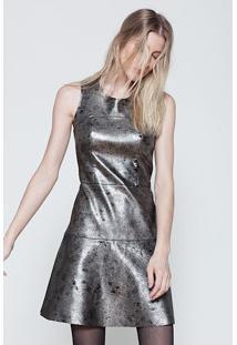 Vestido Com Recorte Couro Sintetico