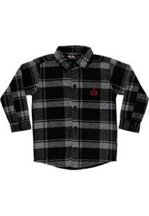 Camisa Manga Longa Infantil Para Menino - Preto