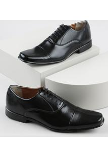 Sapato Social Masculino Oneself Bico Quadrado Com Cadarço Preto