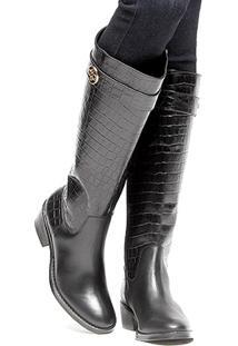 Bota Couro Montaria Shoestock Croco Feminina - Feminino