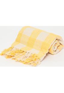 Manta Campestre Xadrez- Amarela Bege- 140X140Cmbrartesanal