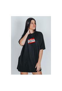 Camiseta Feminina Oversized Boutique Judith Antisocial Preto