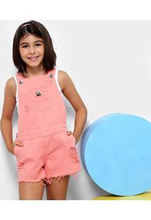 Jardineira Infantil Colcci Fun Sarja Feminina - Feminino-Rosa