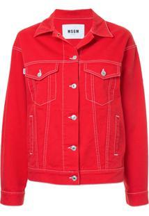 Msgm Jaqueta Jeans Clássica - Vermelho