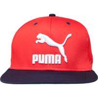 Boné Puma Ls Colourblock Snapback Aba Reta Vermelho 4283e163746